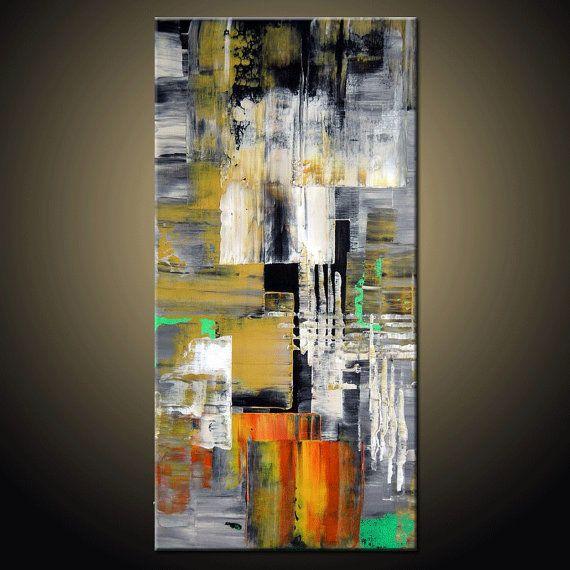 peinture abstraite original contemporain couteau textur peinture pr te suspendre pinteres. Black Bedroom Furniture Sets. Home Design Ideas