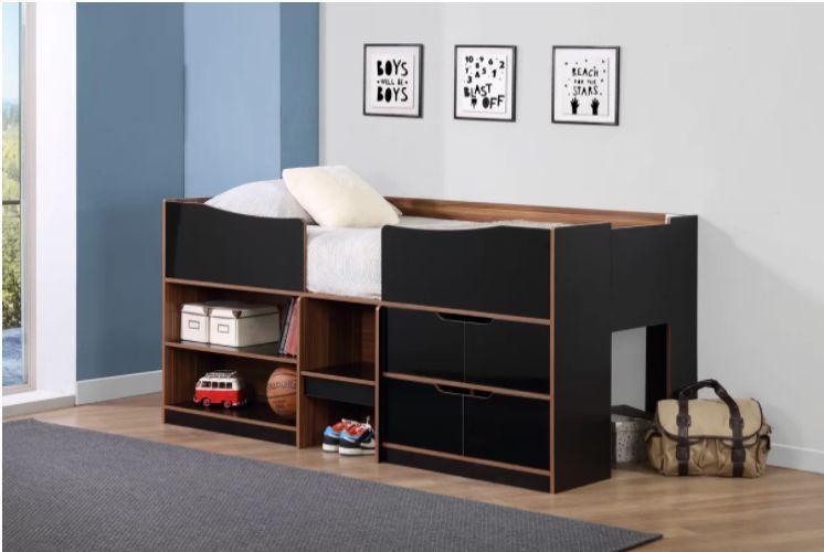 Wooden Black Single Bed Cabin Drawers Shelves Storage Children Bedroom Furniture Cabin Bed Cabin Bed With Storage Kids Bedroom Furniture