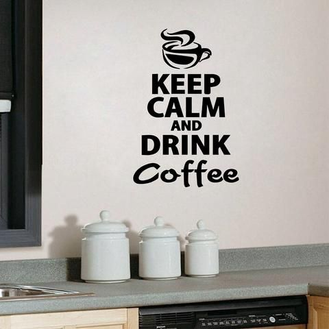 keep calm and drink coffee wall stickers black red on wall stickers for kitchen id=16148