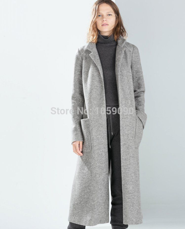 ZA 2015 New Genuine Autumn Winter Fashion Grey Wool coat Overcoat ...
