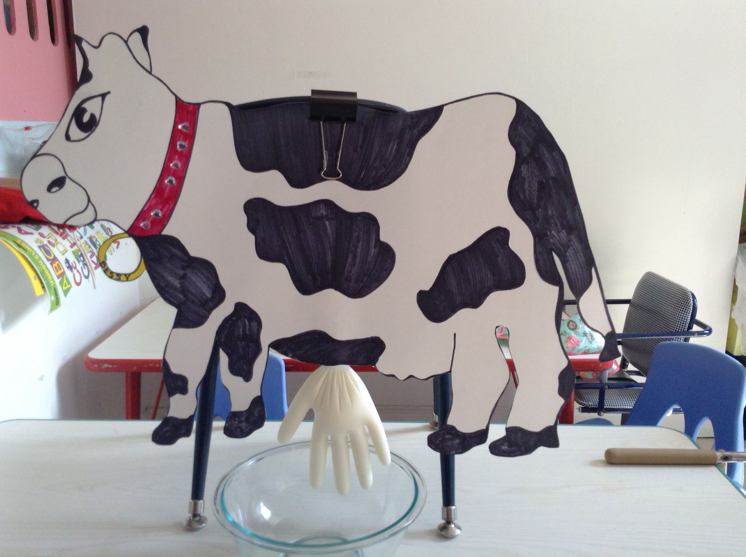 Cow For Milking On Farm Week Poster Board Cow And A Glove