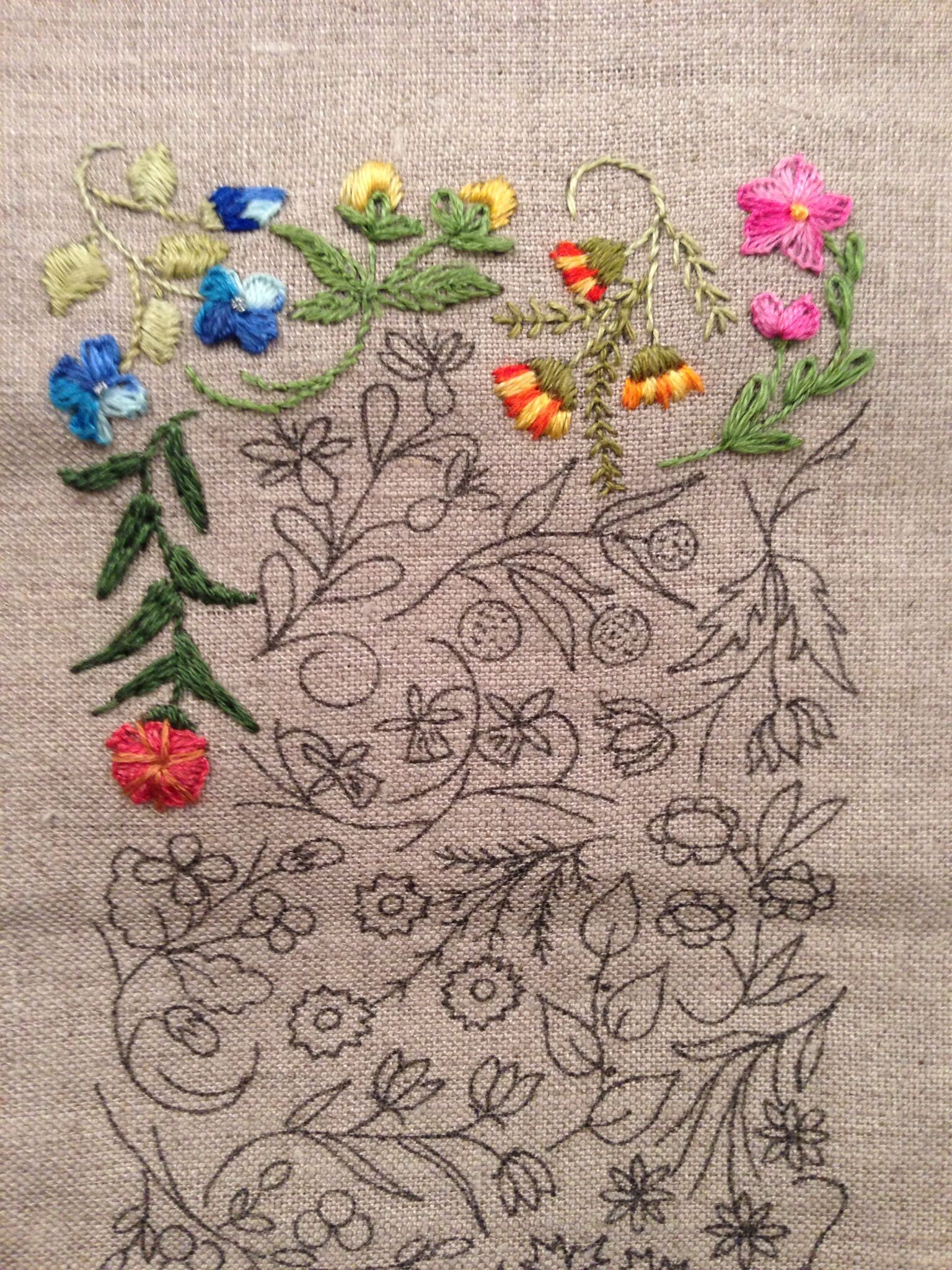 Mille Fleurs - Progress 5 blanket stitch, straight stitch, stem stitch and long and short stitch.