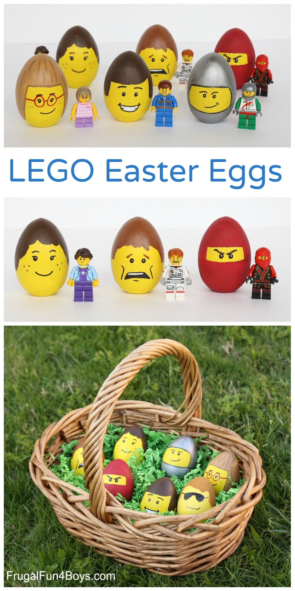 Lego Minifigure Decorated Easter Eggs Frugal Fun For Boys And Girls Easter Crafts For Kids Easter Egg Decorating Fun Easter Crafts