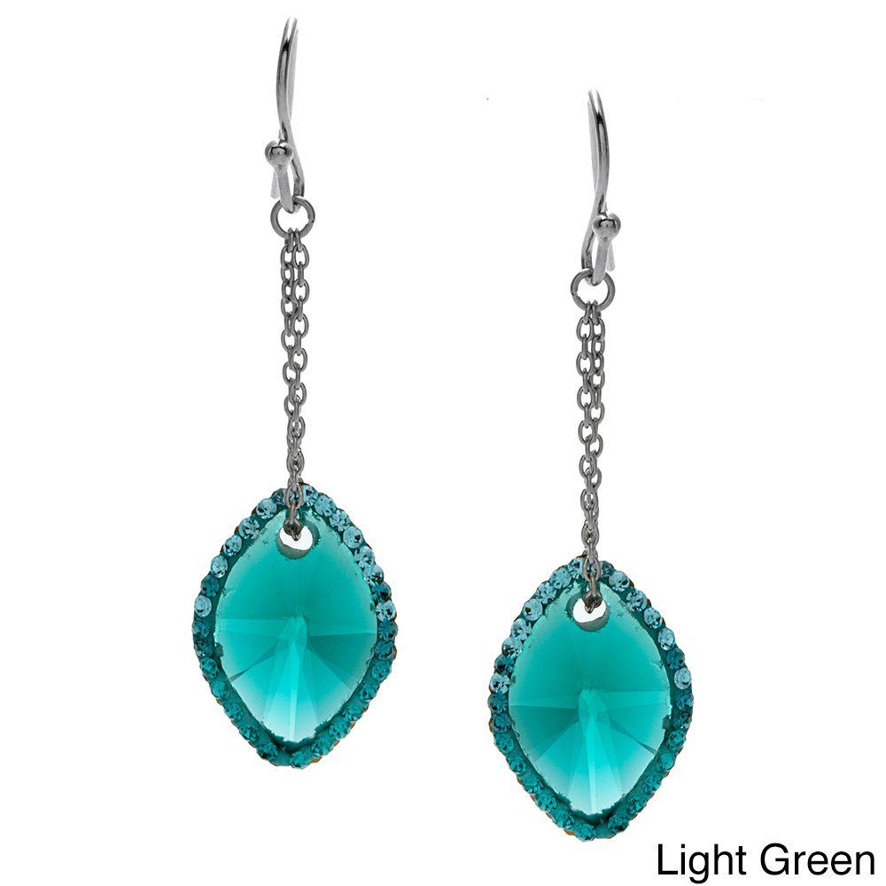 La Preciosa Sterling Silver Colored Cubic Zirconia and Crystal Earrings (