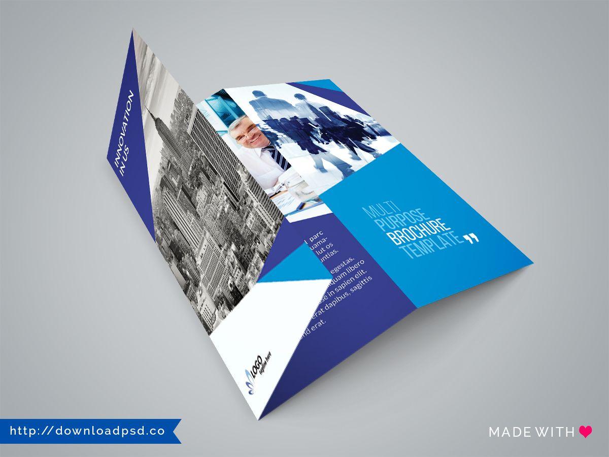 Elegan Multipurpose Trifold Brochure Template Free Download - Three fold brochure template free download
