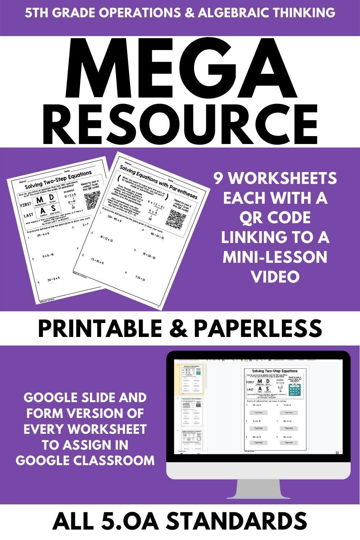 5th Grade Operations \u0026 Algebraic Thinking Worksheets \u0026 Google Classroom  Resource   Google classroom resources [ 1500 x 1000 Pixel ]
