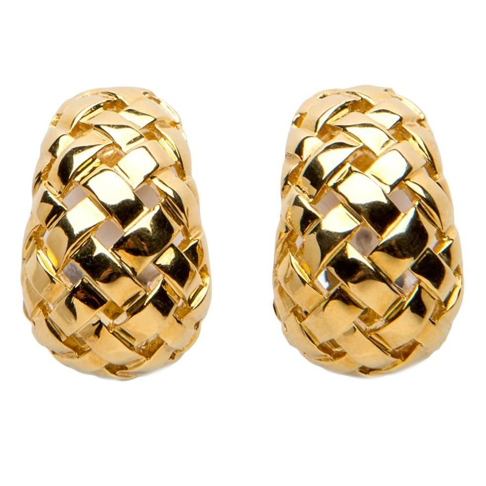 Tiffany Co Vannerie Collection Woven Gold Earrings