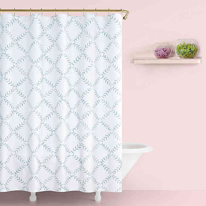 Kate Spade New York Fern Trellis Shower Curtain In Turquoise Bed