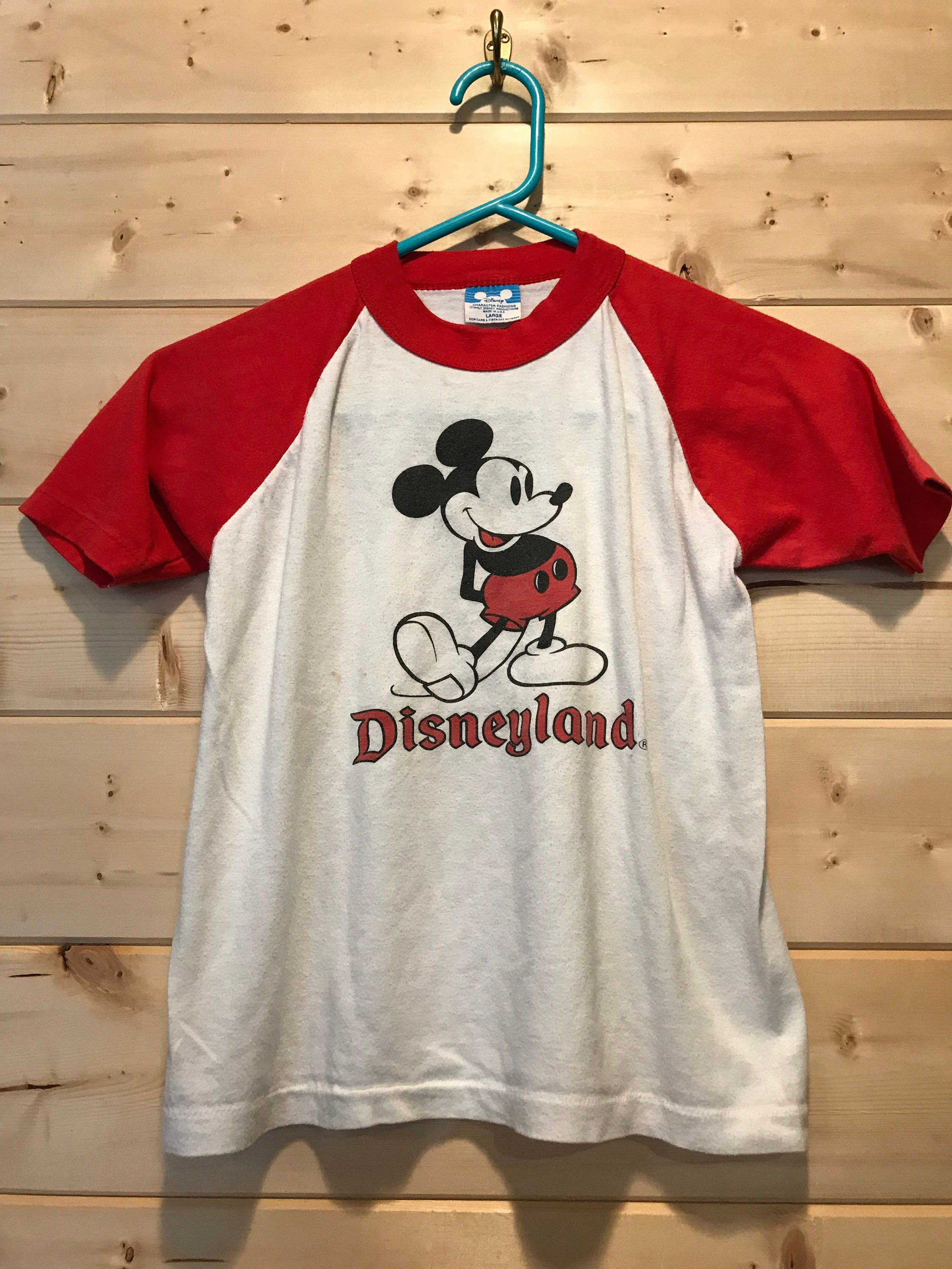 Vintage 1980 S Youth Mickey Mouse Disneyland Raglan T Shirt Soft Retro Made In Usa By 413productions On Etsy T Shirt Cartoon Shirts Cool Shirts