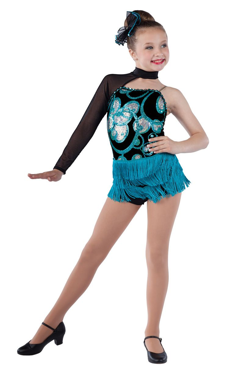 15251 Lights, Camera, Dance! | Tap Jazz Dance Costumes | Dansco 2015 | Black spandex short unitard with silver/ peacock sequin on black mesh overlay, black mesh sleeve and adjustable nude elastic strap. Peacock fringe and sequin braid trim. Headpiece included.