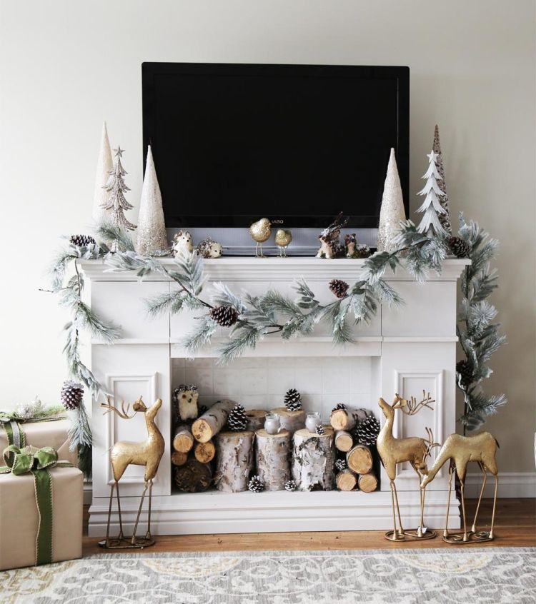 Hochwertig Kaminumrandung Selber Bauen Dekokamin Weihnachten Winter Deko  Weiss Holzstamm Geschenke