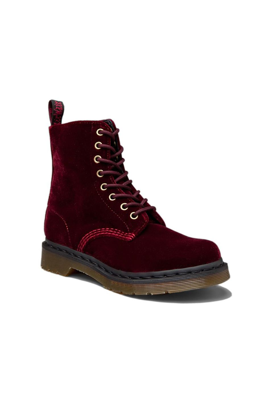 Dr. Martens Page Velvet Boot in Cherry Red (With images