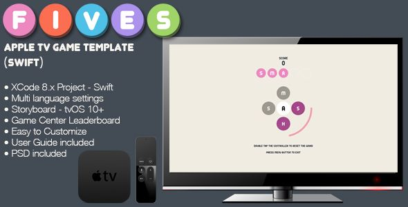Fives TV tvOS AppleTV Word Game Template (Swift)  Fives has - for sale word template