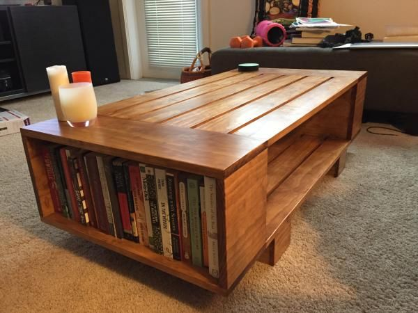 Diy Slat Coffee Table With Incorporated Book Shelves
