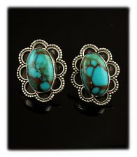 .925 Spiderweb Stormy Mountain Turquoise Earrings