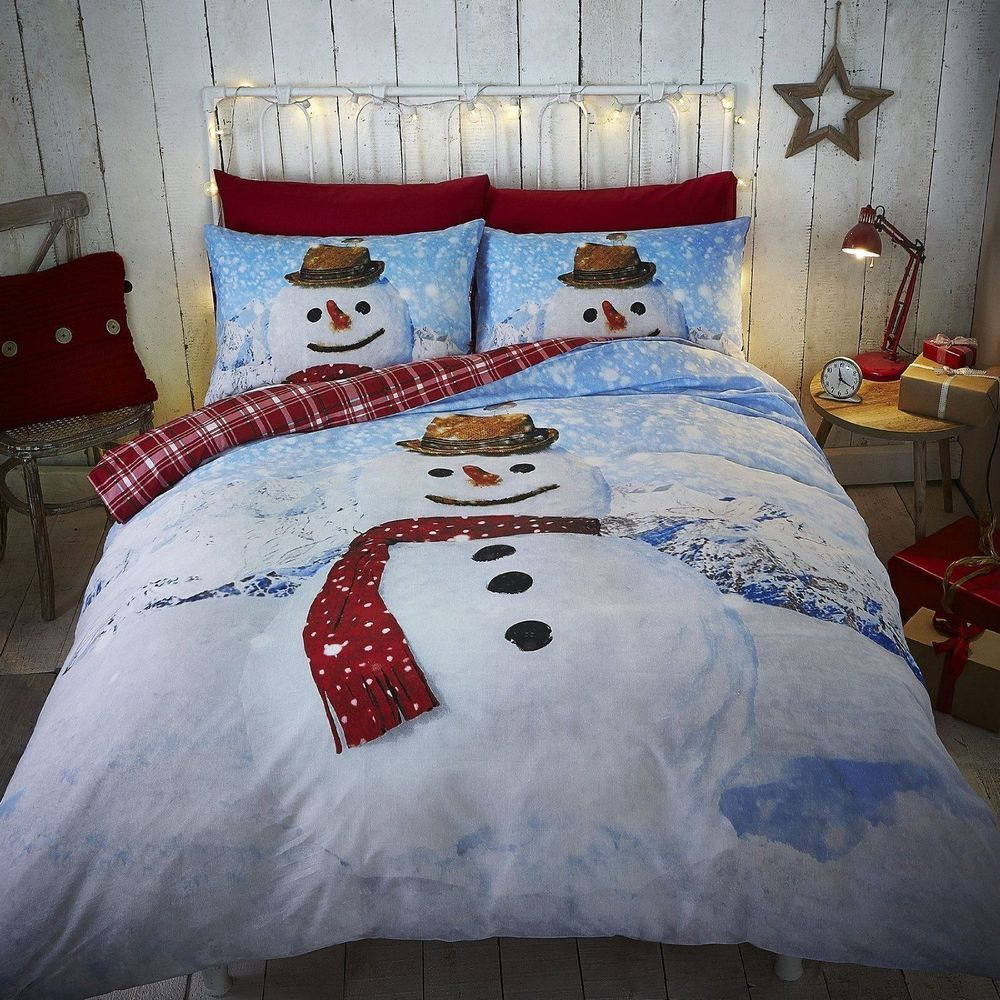 Catherine Lansfield New Snowman Christmas Duvet Cover Bedding Set Single Double