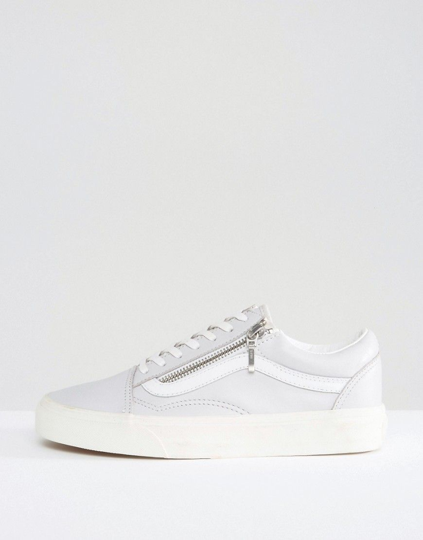 Buy it now. Vans Old Skool Zip Leather Trainers In Grey ...