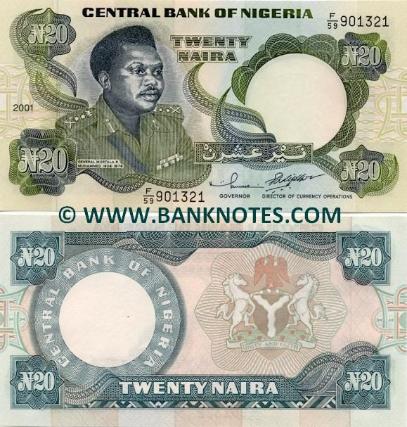 Nigeria Currency Nigeria 20 Naira 2001 Nigerian Currency Bank