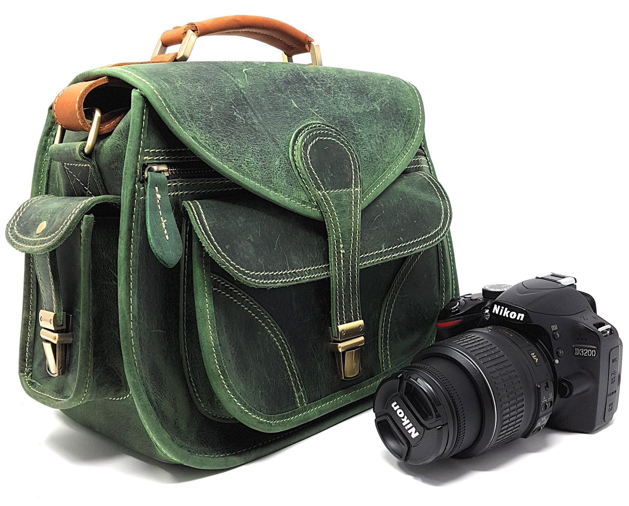 3aa8ef82f0 Purple Relic  Vintage Leather DSLR Camera Bag (Green)  Crossbody  Fits DSLR  with Lens For Canon Nikon Sony