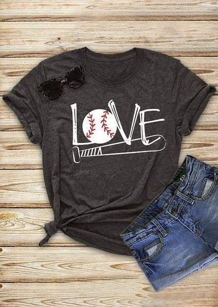 ed541bf59 2018 Fashion Women T Shirt Summer Short Sleeve Love Baseball Bat Print T- Shirt Female Casual Dark Grey t shirt Ladies Tops Tee in 2019 | Tops & Tees  ...