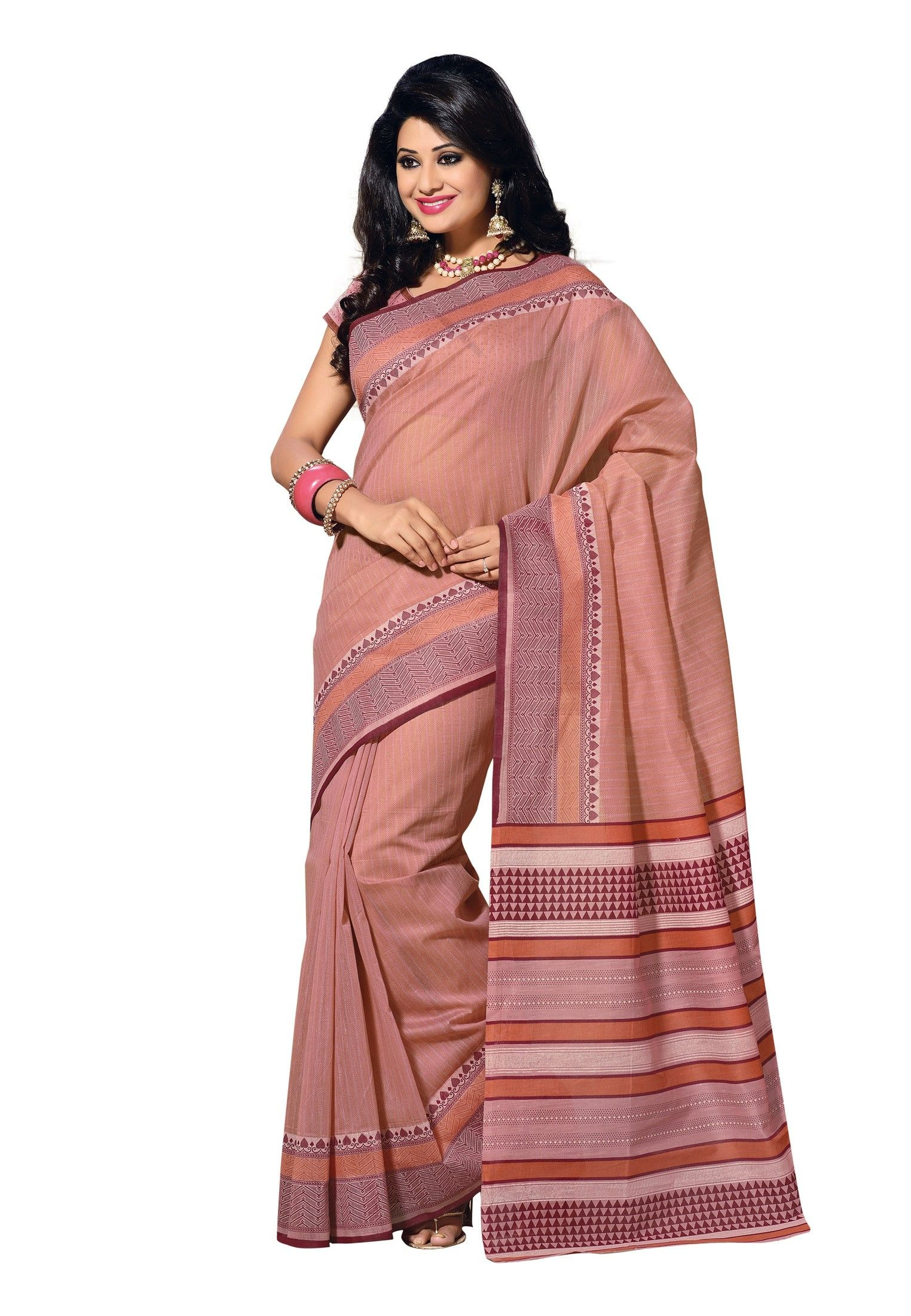 Digital #Cotton Printed #Saree Enroll to get yourself fashionised by this lovely light pink colored saree paired with an equally sensational light pink colored blouse is going to be a major hit in your group. The saree is fabricated in the softest of cotton and graced with a geometric print adding charm to this attire. Available in 12% Discount @aimdeals