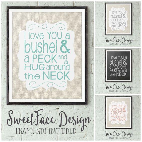 Download I Love You A Bushel And A Peck art print, chalkboard ...