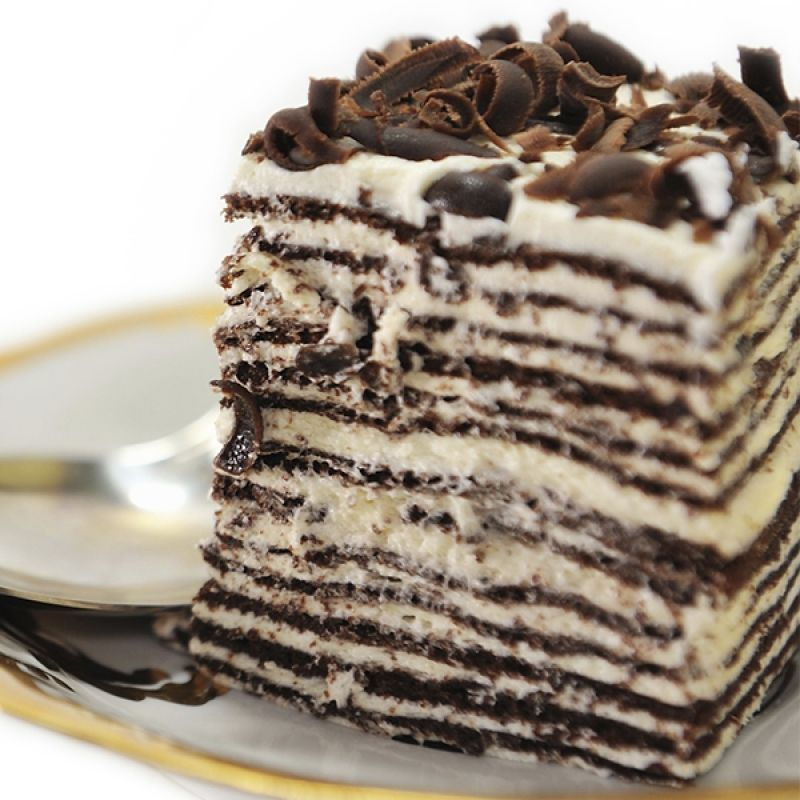 This chocolate crepe cake, with layers of whipped cream ...