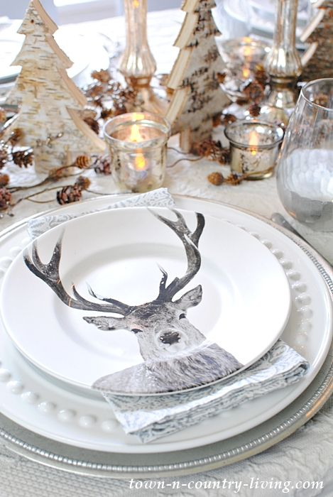 Deer Table Setting For Christmas Entertaining Town Country Living Christmas Entertaining Christmas Table Settings Christmas Table Decorations