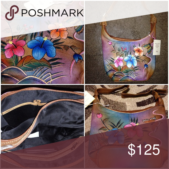 NWT hand painted hibiscuses 🌺 on Leather Bag Beautiful hand painted  hibiscus art on genuine leather by sova similar to anuschka sova Bags  Shoulder Bags 2cc83b85e4