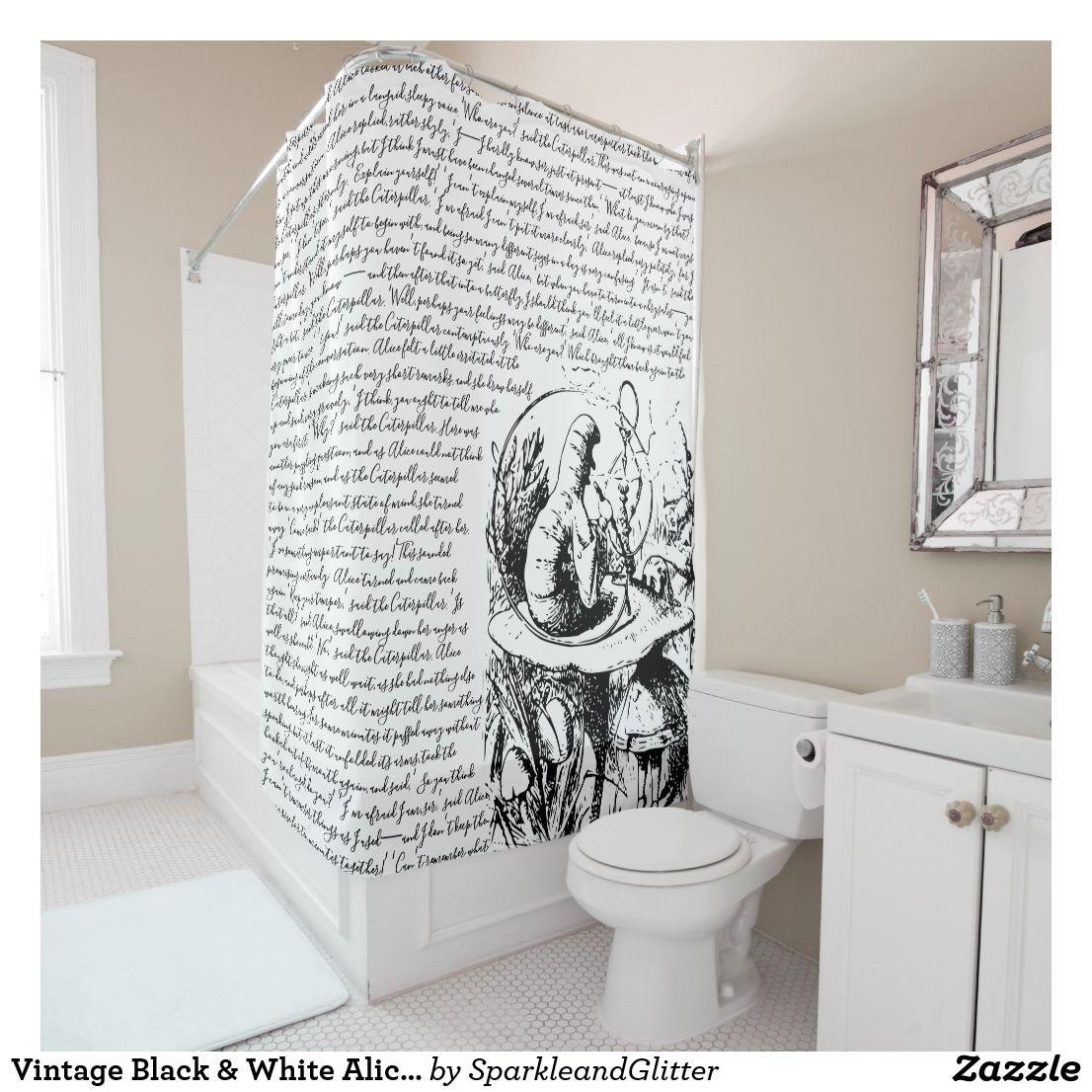 Vintage Black White Alice In Wonderland Shower Curtain Zazzle