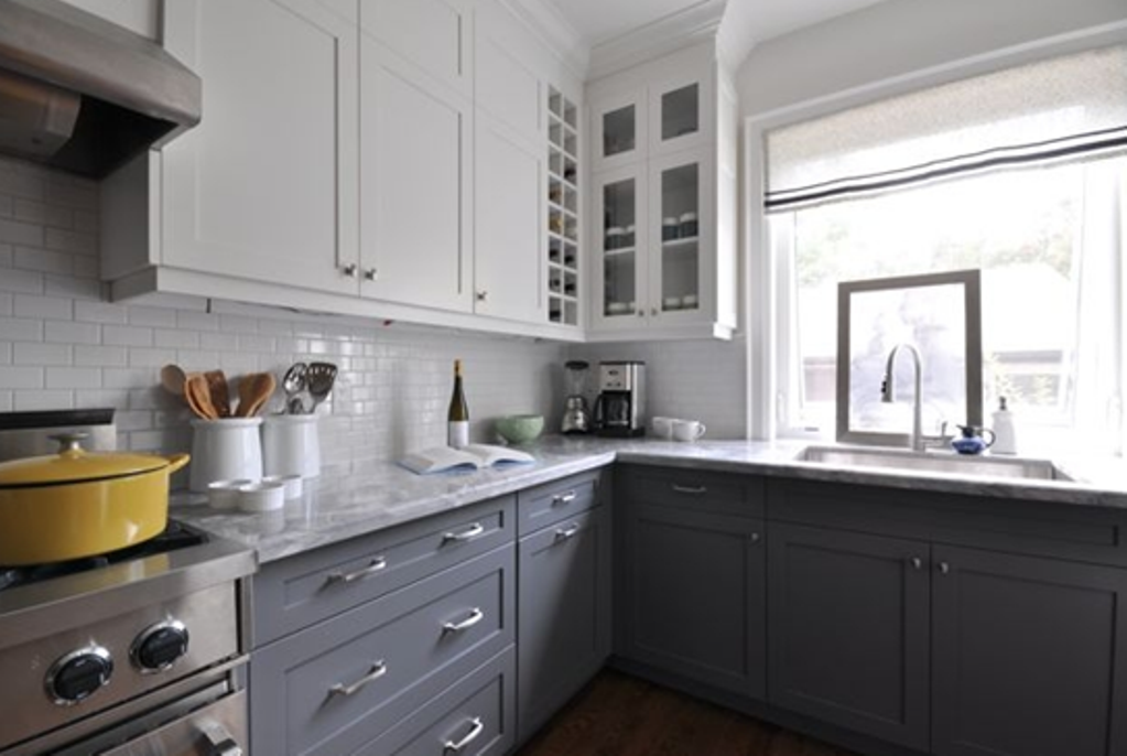 Back Splash In White Subway Tile Classic Kitchen Inspirations - Grey kitchen base cabinets