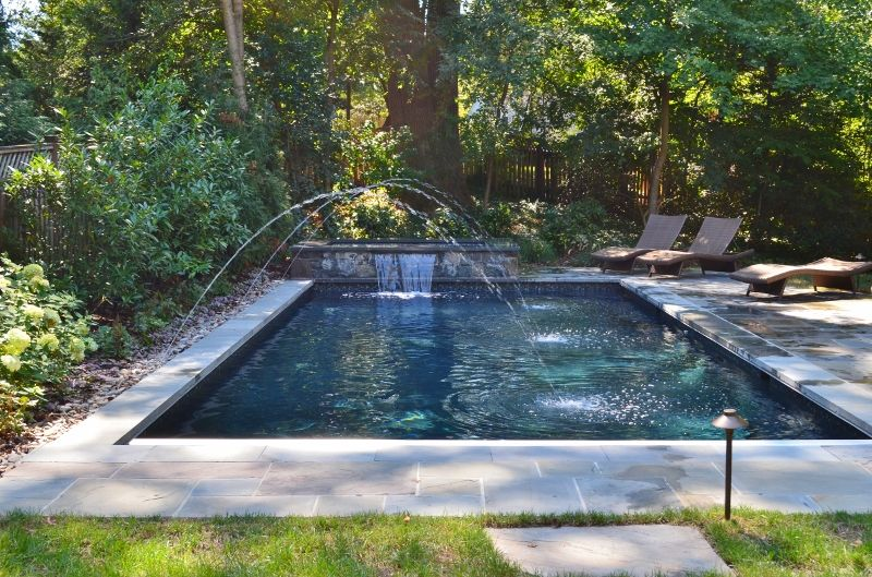 Wet Edge Prism Glossy Black Mclean Virginia Rectangle Pool Raised Spa Water Features
