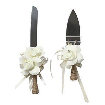 Ling's moment Rustic Cake Knife and Server Set for Wedding, Ivory Rose Handle