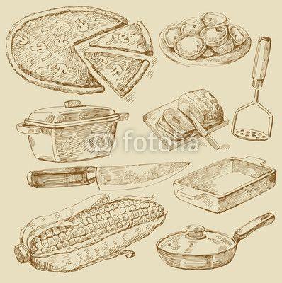 Wektor: cooking doodles