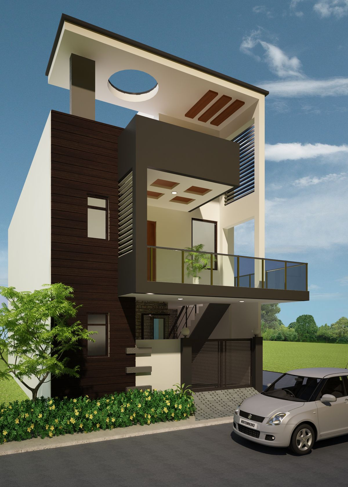 This is a 3D Render of an exterior Duplex house design Bung