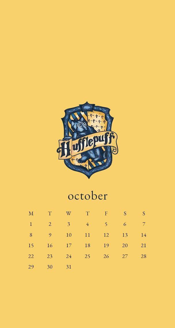 October 2018 calendar wallpaper iPhone Harry Potter Hufflepuff