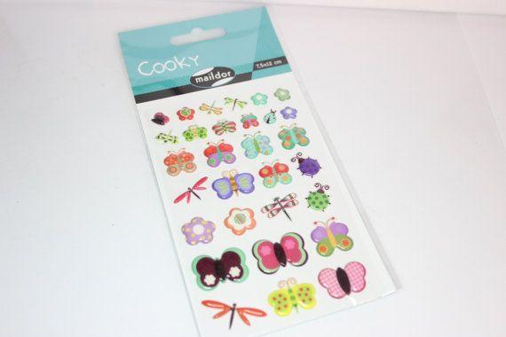 Sticker Cooky Schmetterlinge und Libellen bunt von Papiervogel