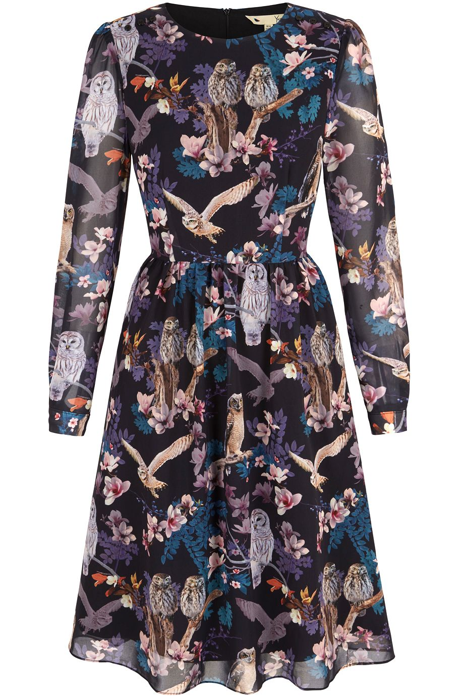 Owl and Flower print dress, Yumi London