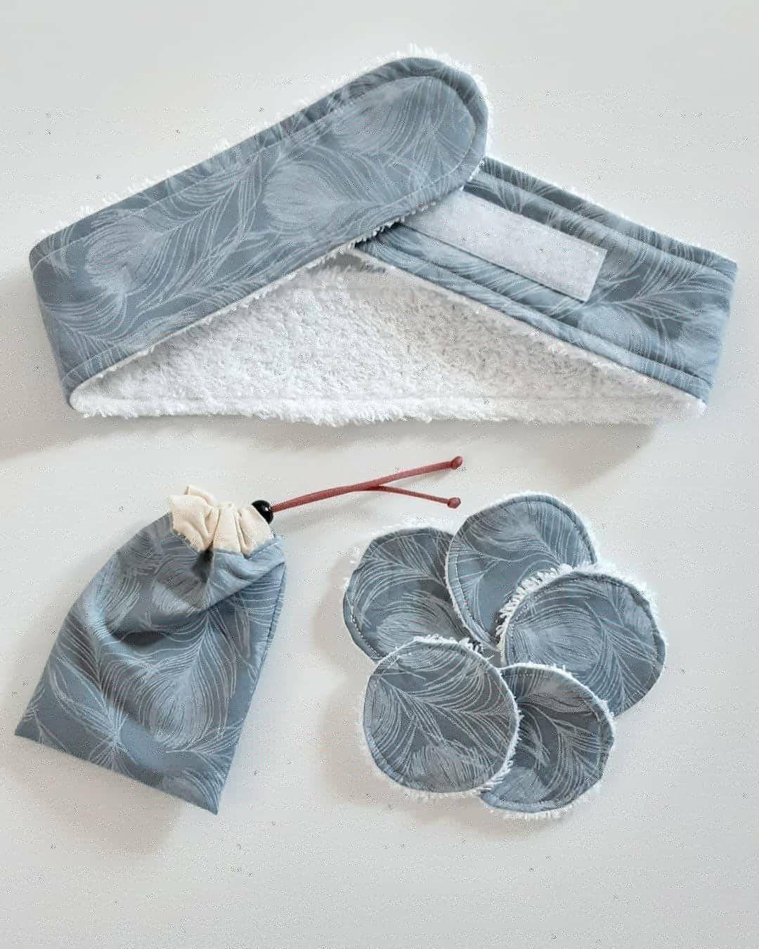 Skincare headband + 5 face pads + bag, 100 cotton, facial