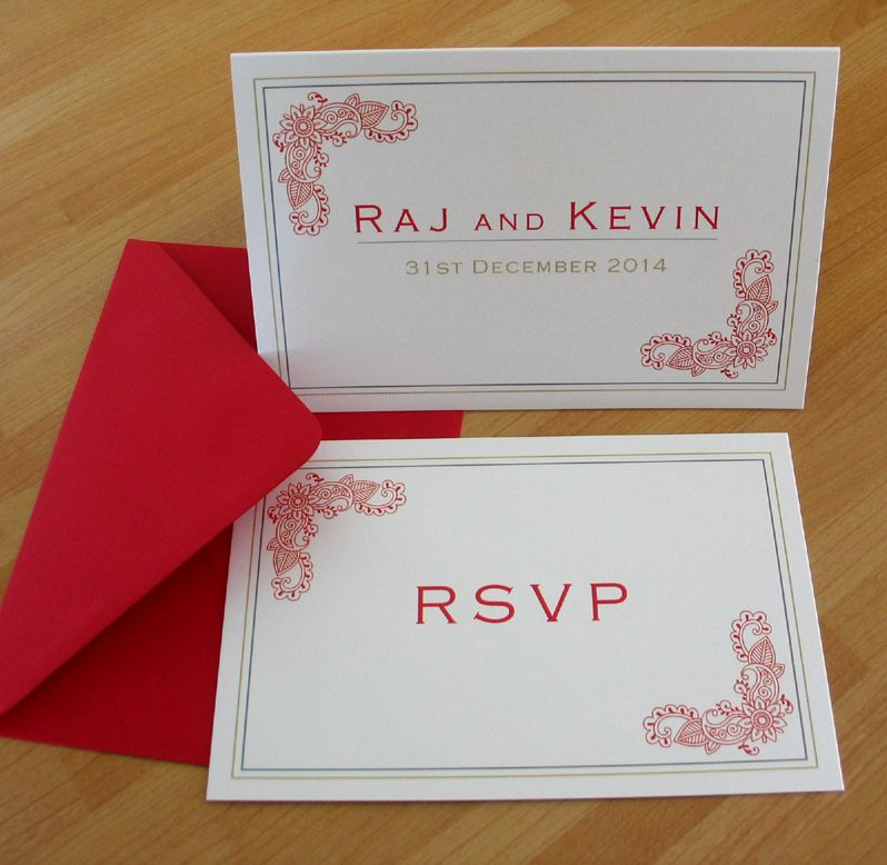 hindu wedding invitation card samples in english%0A Hindu Indian contemporary wedding invitation and rsvp reply card