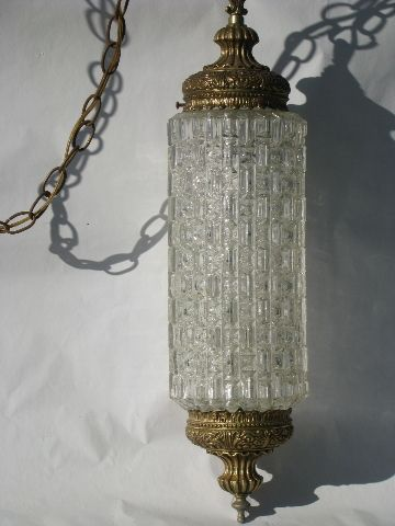 Ornate Gold Glass Lantern Swag Lamp Retro 60s Vintage Hanging Light Swag Lamp Gold Hanging Lights Hanging Lights