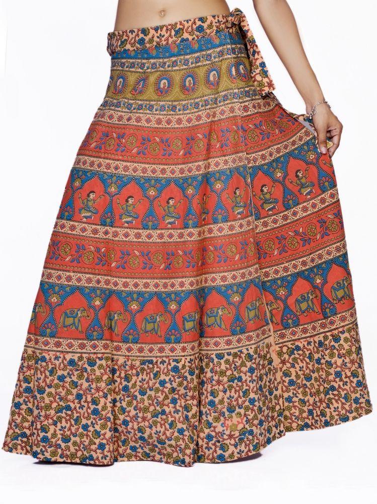 e34d0fd007 Women Stylish Rajasthani Orange Elephant Printed Wrap Around Cotton Long  Skirt #Handmade #LongSkirt