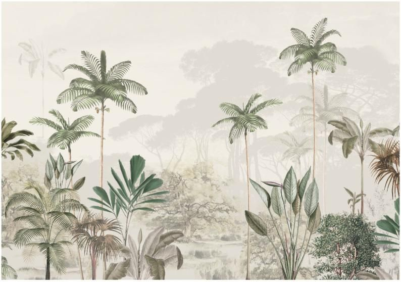 Winter Plants and Flower Wallpaper Winter Pines Wallpaper Removable Wallpaper Tropical Wallpaper Exotic Wall Sticker