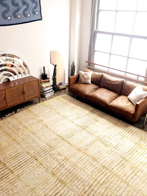 Yellow Gold Moroccan Rug Hand Knotted Wool