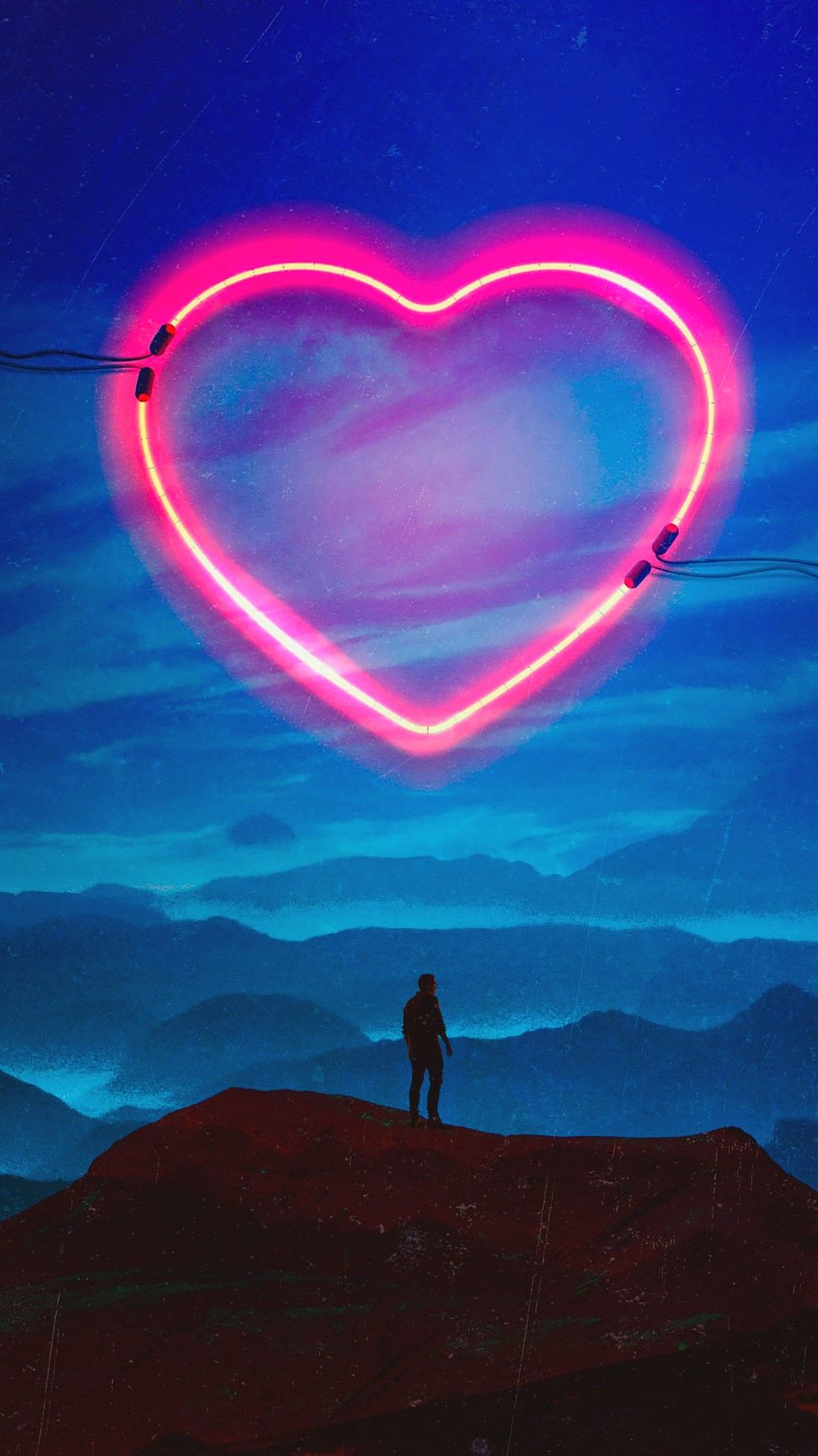 Neon Heart Lonely Man Wallpapers 1080x1920 Android Wallpaper Love Heart Wallpaper Hd Cute Mobile Wallpapers