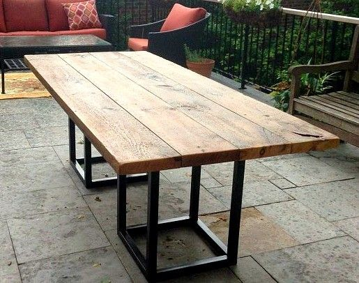 Amazing Concept Of Salvaged Barn Board Dining Outdoor Dining Table With  Metal Base Farmhouse Dining Tables Part 56