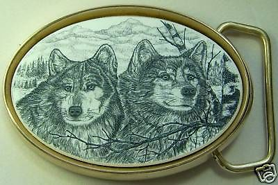 Belt Buckle Barlow Scrimshaw Carved Painted Art Traditional Wolf Wolves 590522