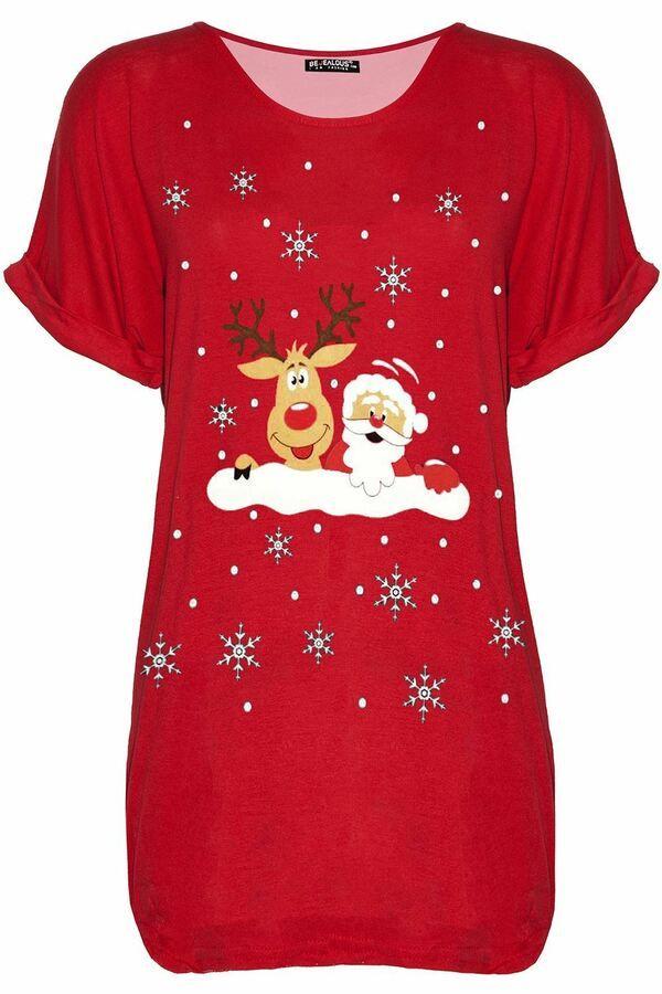 Womens Xmas Ladies Batwing Sleeve Christmas Printed Oversized Baggy T Shirt Top