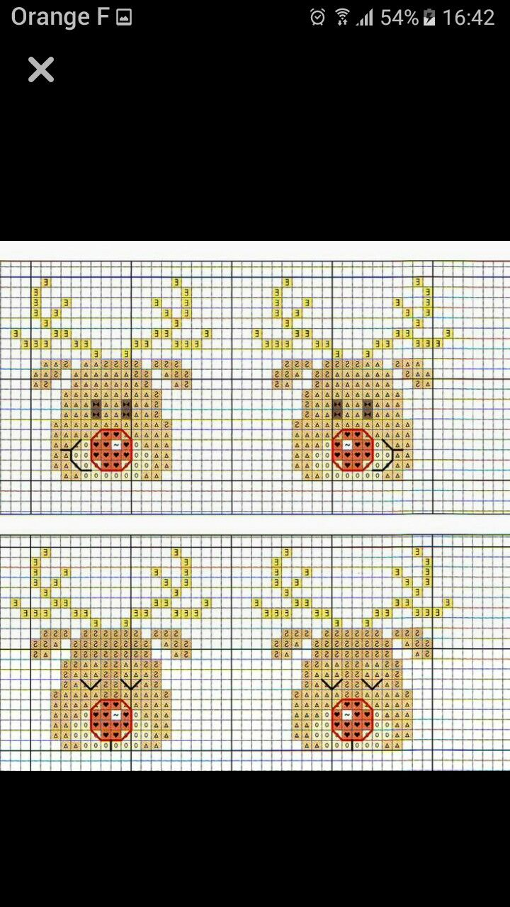 Biglietti Di Natale A Punto Croce.Four Reindeer Faces Punto Cruz Punto Croce Natalizio Ricamo A