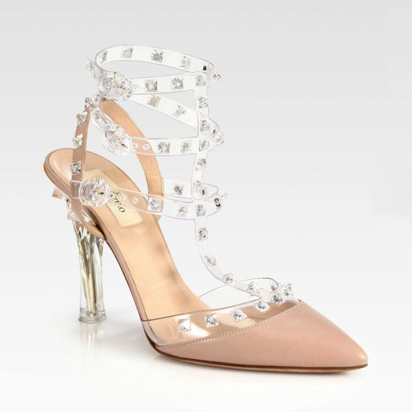 1bb5eec55a6 Valentino Rockstud blush leather pointed slingback pump with studded ...